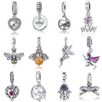 Горячая распродажа натуральная 100% 925 стерлингового серебра кулон Шарм серьги, подходят к оригинальному браслету ожерелье подлинными бусин...