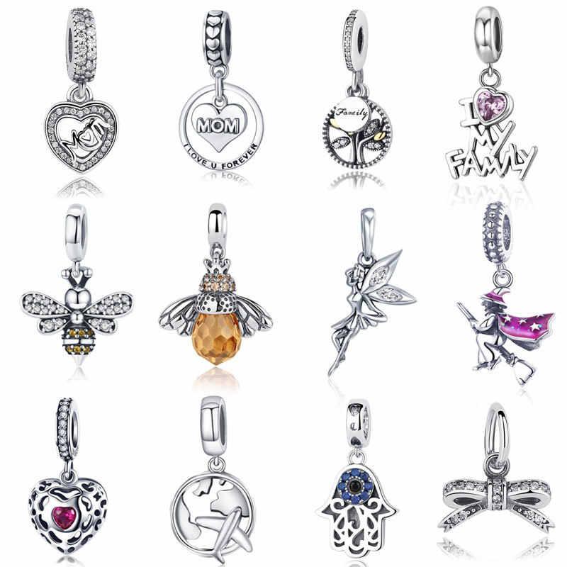 Gorąca sprzedaż prawdziwej 100% 925 Sterling srebrny wisiorek Charm dynda Fit oryginalny naszyjnik bransoletka autentyczne koraliki biżuteria prezent dla mamy