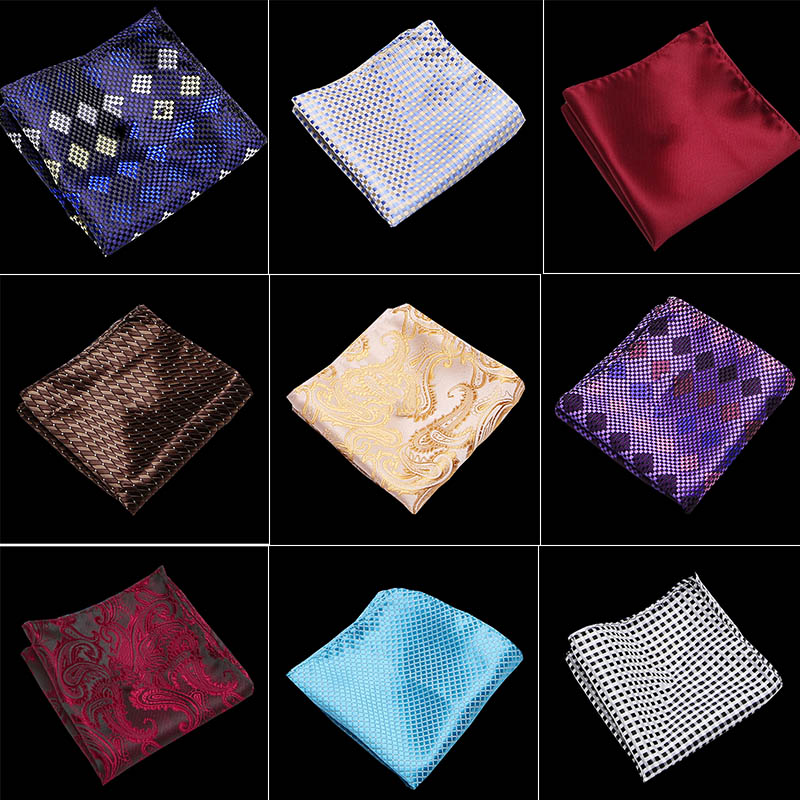 "10/"" Men Striped Floral Pocket Square Silk Satin Hanky Wedding Party Handkerchief"
