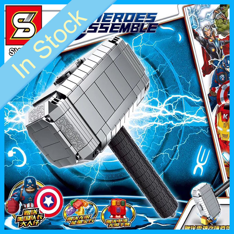 In stock SY1398 629pcs Super Hero Avengers 4 Mjolnir Superman's Hammer Building Blocks Bricks toys Children's Christmas gift
