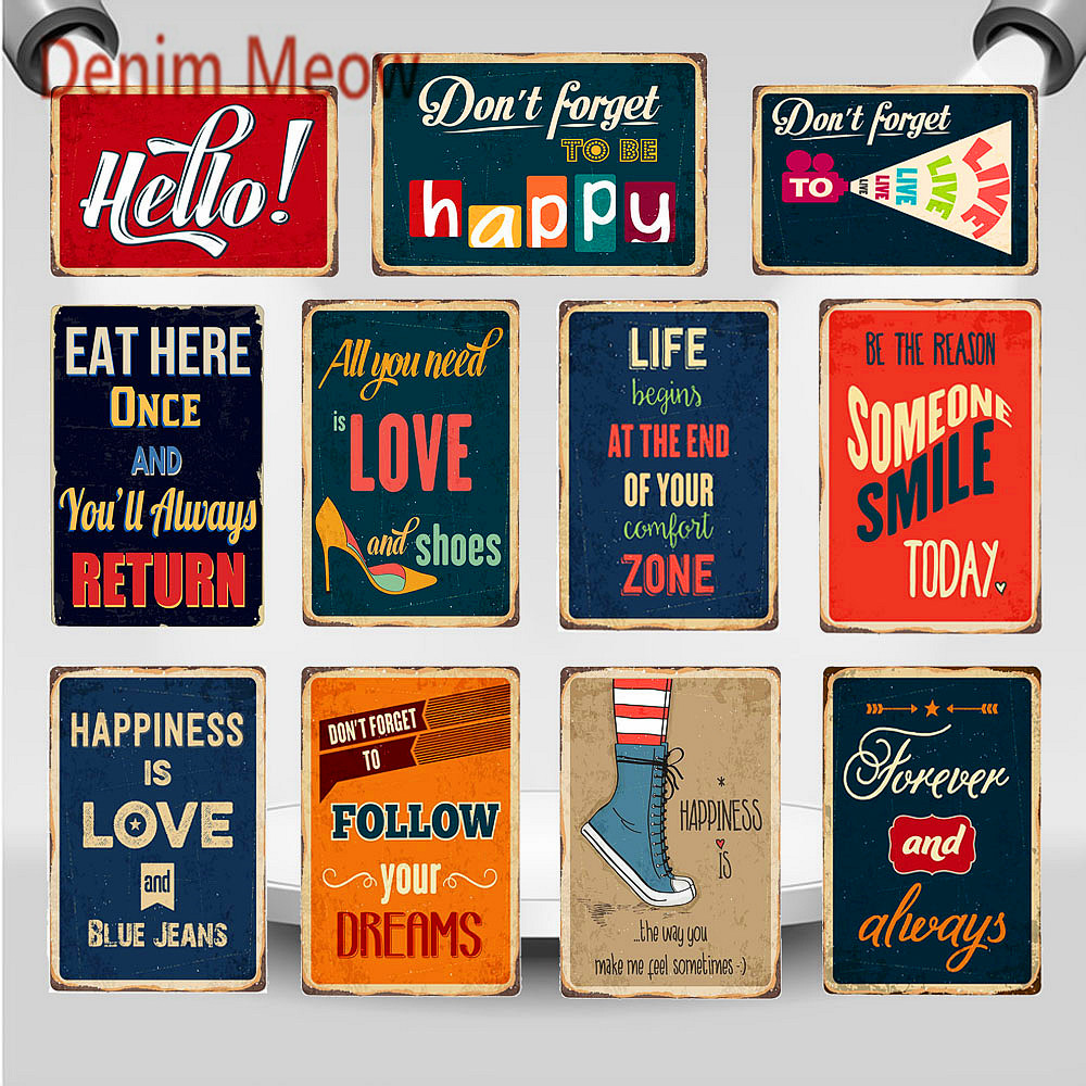 Vintage LIFE Slogan Metal Poster Dont Forget To Be Habby Quotes Bar Signs Follow Your Dreams Inspirational Wall Art Plaque WY84