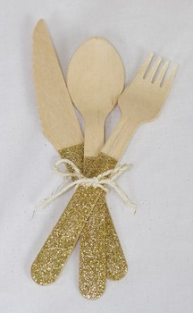 Free Shipping 120pcs Gold Glitter Gold Wooden Cutlery Glitter Goldware for Birthday Baby Shower Wedding Party Decoration