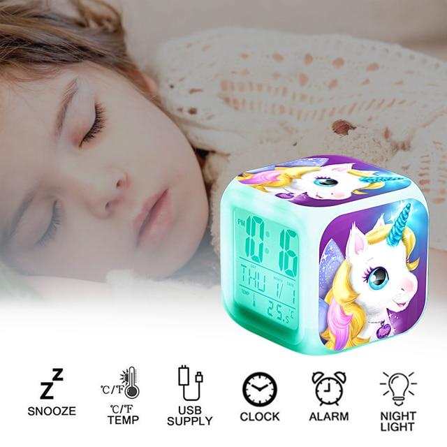 Kids Unicorn Alarm Clock 7 Colors Changing Night Light Led Digital Clock Children Desk Clock Despertador будильник Kids Gift 5