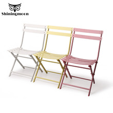 Modern Chinese Iron Folding Chair Restaurant Dining Chair Outdoor Leisure Coffee Shop Chair Simple Creative Metal Comedor  Chair