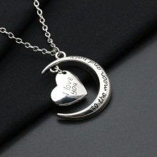 Family Gifts Female Girl Women Friend Metal Silver Color Alloy I Love You to the Moon Heart Pendant Charm Necklace