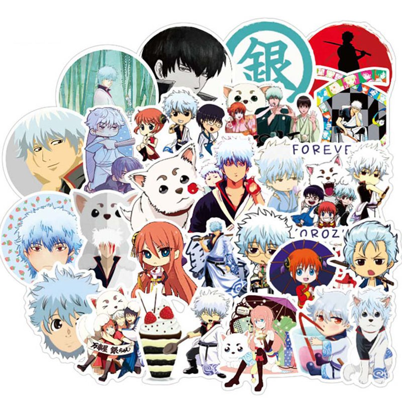 50 Pcs/set Funny Anime GINTAMA Stickers Notebook Decoration Stickers Cartoon Anime DIY Bus ID Card Stickers Boy Girl Gifts Toys