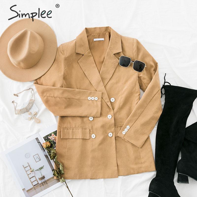 Simplee Autumn Women Khaki Blazer Coat Casual Double Breasted Solid Female Office Wear Blazer Winter Ladies Outer Wear Coat 2019
