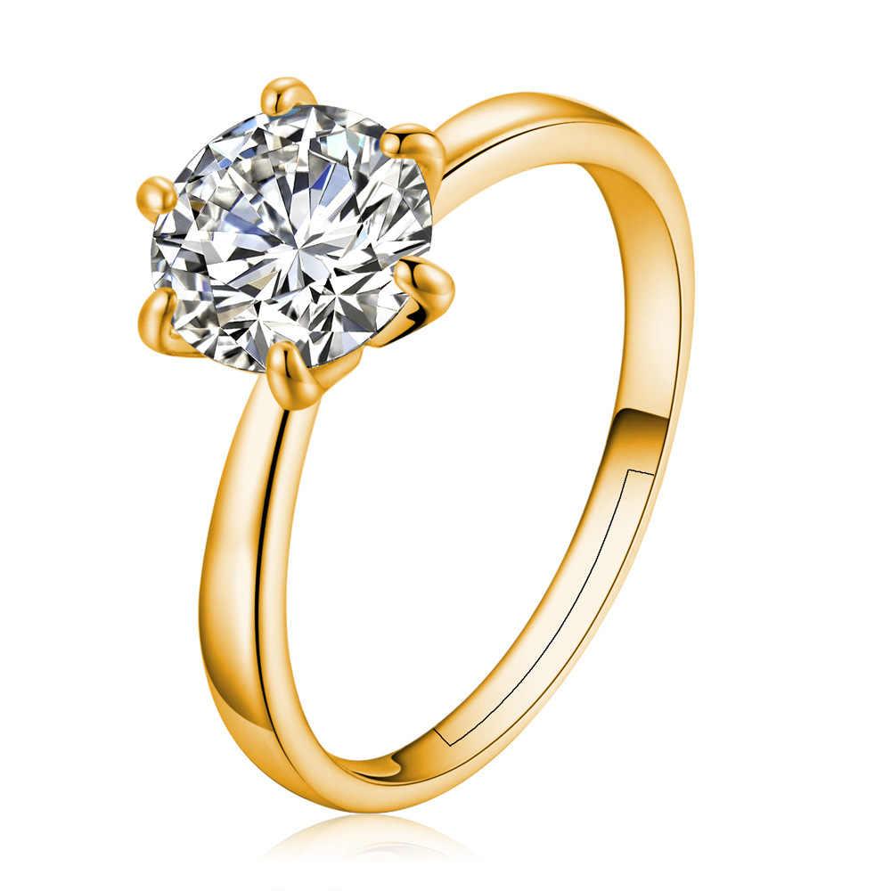 หก Claw Gold สีแหวน AAA ออสเตรียคริสตัลแหวนเจ้าสาวคริสต์มาสของขวัญผู้หญิงเครื่องประดับหมั้นแหวน
