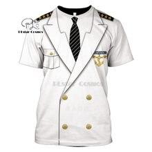 Unissex capitão traje anime cosplay t-shirts prisioneiro palhaço smoking t homem cowboy pirata palhaço piloto uniforme polícia carnaval