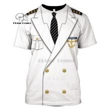 Unisex Captain Costume anime Cosplay T-Shirts Prisoner Clown Tuxedo Tee Man Cowboy Pirate Clown Pilot Uniform Police Carnival