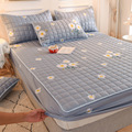 Thicken Quilted Mattress Cover King Queen Quilted Bed Fitted Bed Sheet Anti-Bacteria Mattress Topper Air-Permeable Bed Pad