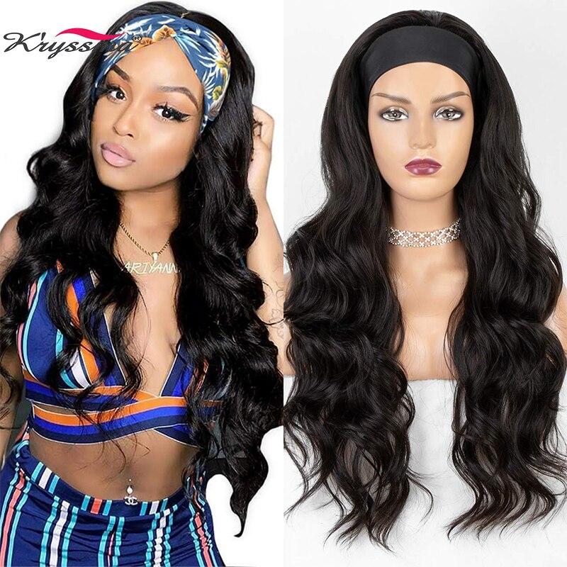 Kryssma longo ondulado bandana peruca para preto feminino nenhuma substituição onda do corpo peruca de cabelo sintético headwrap 2020 nova moda