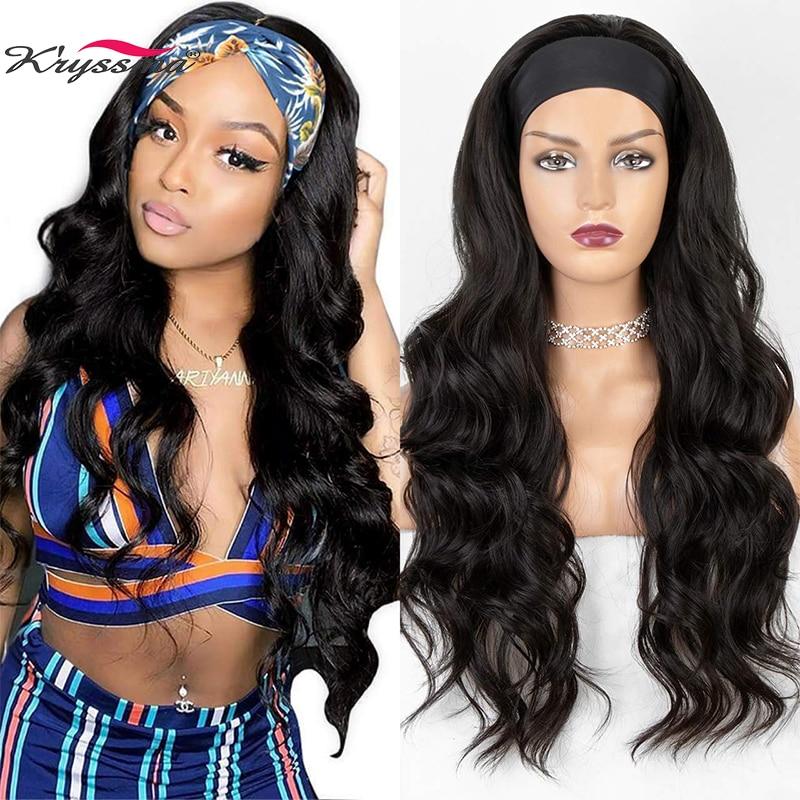 Kryssma Lange Wellenförmige Stirnband Perücke für Schwarze Frauen Keine Ersatz Körper Welle Synthetische Headwraps Haar Perücke 2020 Neue Mode