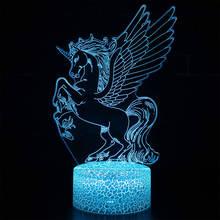 Единорог красочный творческие модели животных Лошадь 3d светильник