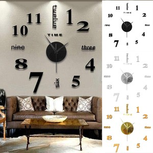 top selling product Frameless DIY Wall Mute Clock 3D Mirror Surface Sticker Home Office Decor Support Wholesale Dropshipping