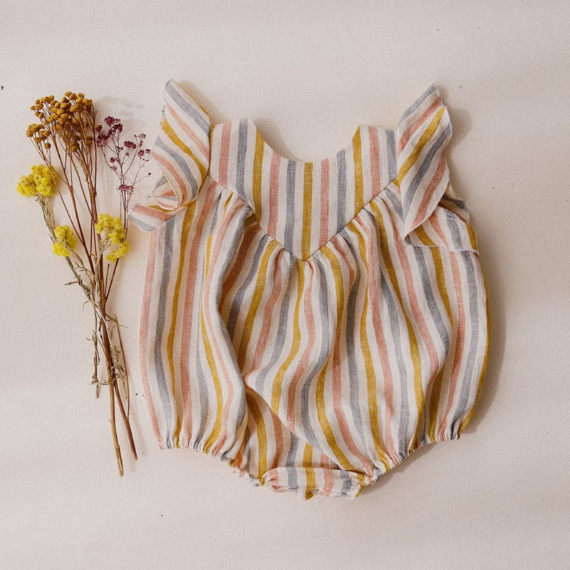 Summer Baby Girl Rompers Vintage Striped Sleeveless Newborn Baby Girl Boy Clothes COTTON&LINEN Baby Girl Outfit One-Pieces