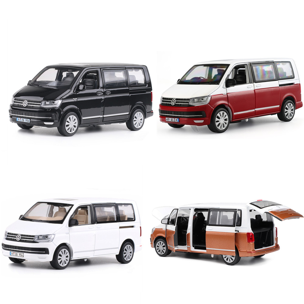 Hot sale 1:32 VW T6 commercial car alloy model,simulation die-casting sound and light pull back toy car children's birthday gift