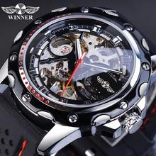 Winner Black Men Military Mechanical Watch Automatic Skeleton Self Wind Analog Racing Sport Silicone Strap Male Reloj Wristwatch