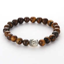 Natural Brown  Skull Stone Circle Bead Bracelet Bangle Alloy Accessories Silver Animal Head Jewelry For Men Trendy Gift New 2019