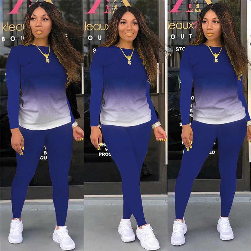 New Women Fashion Zipper Long Sleeves Gradient Print Casual Long Pants Set
