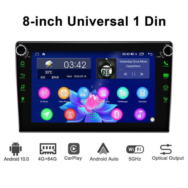 JOYING Android 10.0 head unit 8 inch IPS 1280*720 4GB+64GB car radio player GPS Navigation stereo RDS  DSP support 4G&Carplay&BT