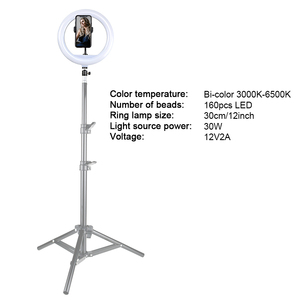Image 4 - 30cm Video Light Dimmable LED Selfie Ring Light USB Photography Lamp with Remote Control Phone Holder stand for Makeup Youtube