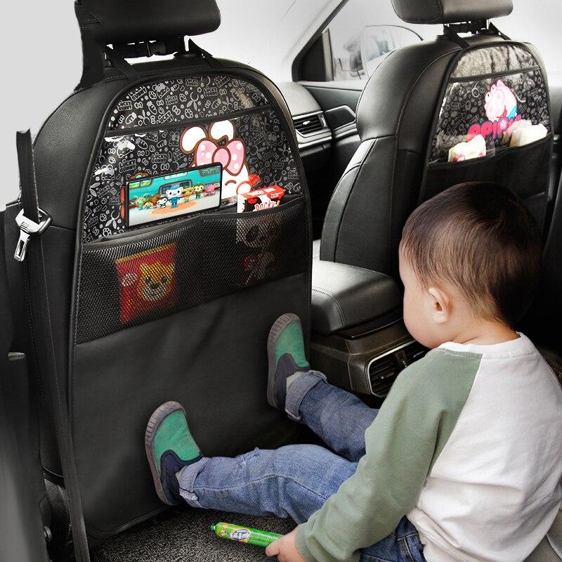 Housse de protection de siège de voiture pour enfants, dessin animé, pochette de rangement pour bébé, résistant à lusure, tapis Anti-coup de pied, nouvelle collection siège auto en cuir synthétique polyuréthane