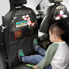 New Pu Leather Car Seat Cover Kids Cartoon Car Seat Back Protector for Children Baby Storage Pocket Wear Resistant Anti-kick Mat