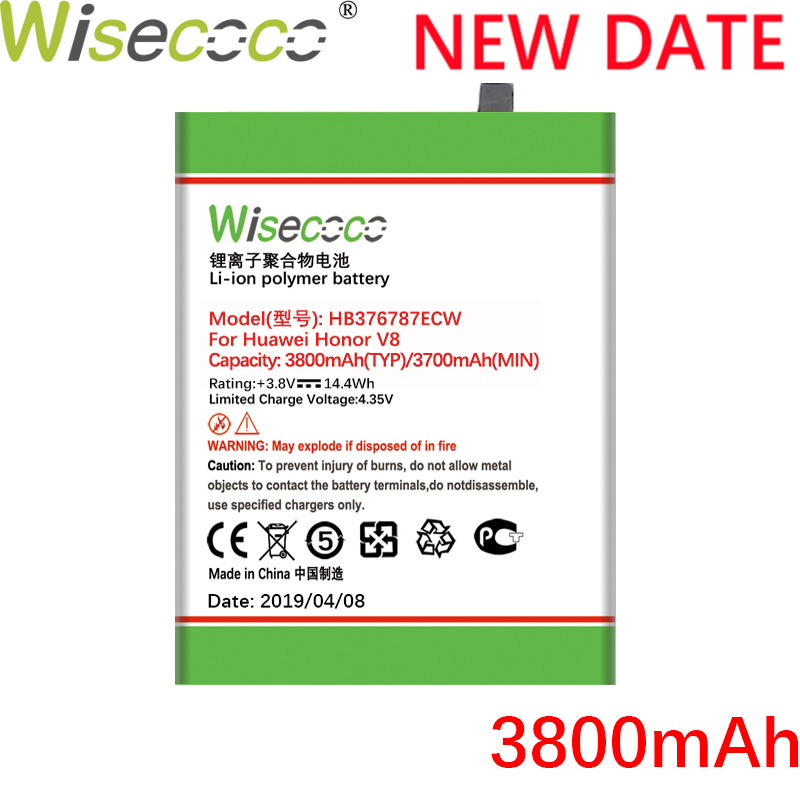 Wisecoco HB376787ECW 3800mAh New Battery For Huawei Honor 8 V8 battery Replacement +Tracking Number