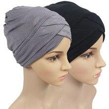 Полностью закрывающие внутренние шапочки под хиджаб, мусульманский тюрбан, шапка для женщин, мусульманский головной платок, однотонный хло...