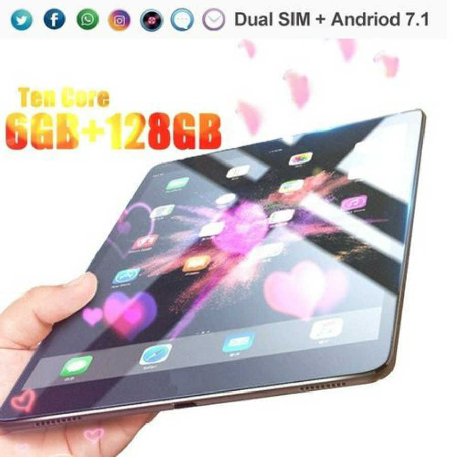 2020 yeni 10.1 inç Tablet PC RAM 6G + 128G 10 çekirdekli Tablet telefon Android 8.0 arka 5.0MP IPS bluetooth ile 2 kamera Wifi Tablet