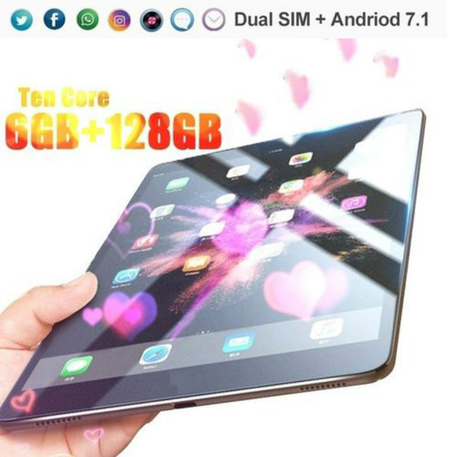 2020 New 10.1 Inch Tablet PC RAM 6G+128G 10 Core Phone Tablet Android 8.0  Rear 5.0MP IPS Bluetooth With 2 Cameras Wifi Tablet