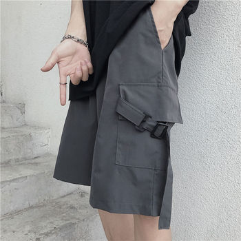 2020 Summer New Youth Pop Ins Korean Version Of The Big Pockets Tooling Pants Fashion Casual Loose Solid Color Shorts Gray/Black