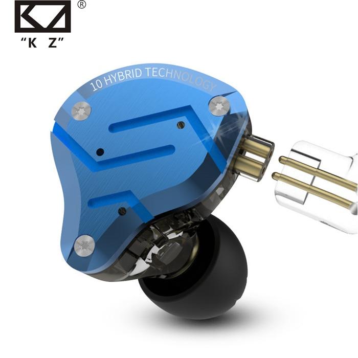 KZ ZS10 Pro Blue Noise Cancelling Earphones Metal Headset 4BA 1DD Hybrid 10 drivers HIFI Bass Earbuds In Ear Monitor Headphones