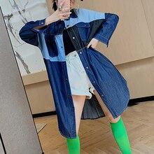 SexeMara 2019 Autumn New Full Batwing Sleeve Turn-down Collar Pocket Patchwork Single Breasted Ladies Fashion Denim Coat CCO044