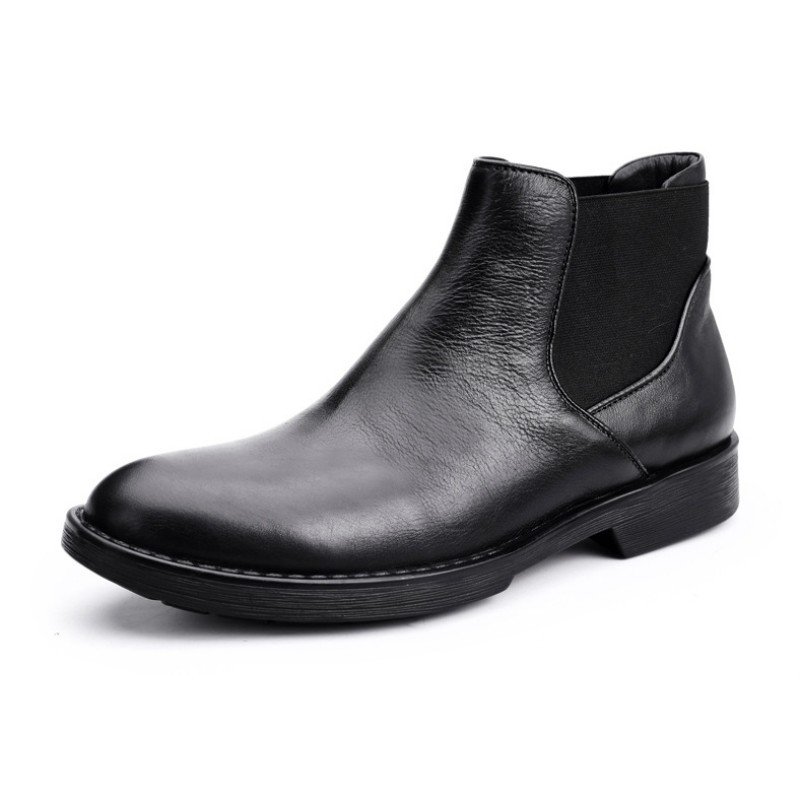 Round Toe Luxury Genuine Leather Chelsea Boots Man 2020 Winter Warm England Style Fashion Ankle Work Shoes Male Bota Masculina