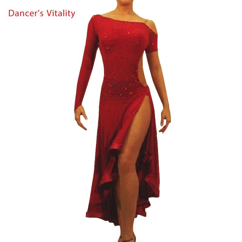 2017 Diamond Latin Dance Dress Girl Shoulder Style Long Sleeves Sleeveless Samba Ballroom Tango Dance Clothing Latin Dance Dress
