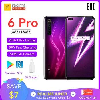 Verdadero yo 6 Pro versión Global teléfono móvil 8GB RAM 128GB ROM 6Pro Snapdragon 720G 90Hz pantalla 30W carga de Flash de 4300mAh teléfono móvil