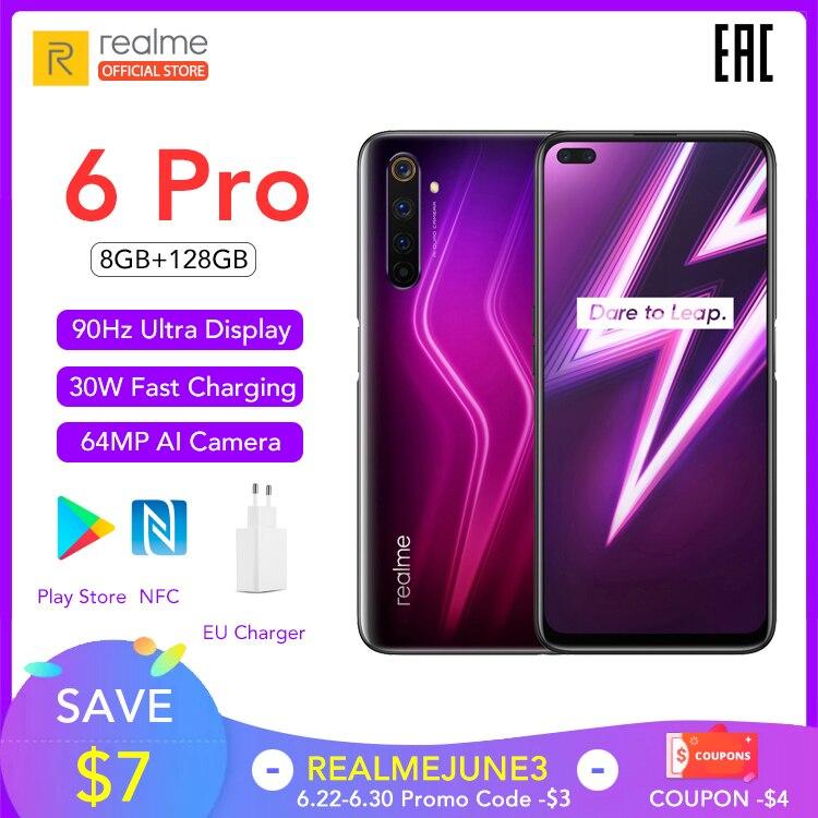 Realme 6 Pro Version mondiale téléphone portable 8GB RAM 128GB ROM 6Pro Snapdragon 720G 90Hz affichage 30W Charge Flash 4300mAh téléphone portable