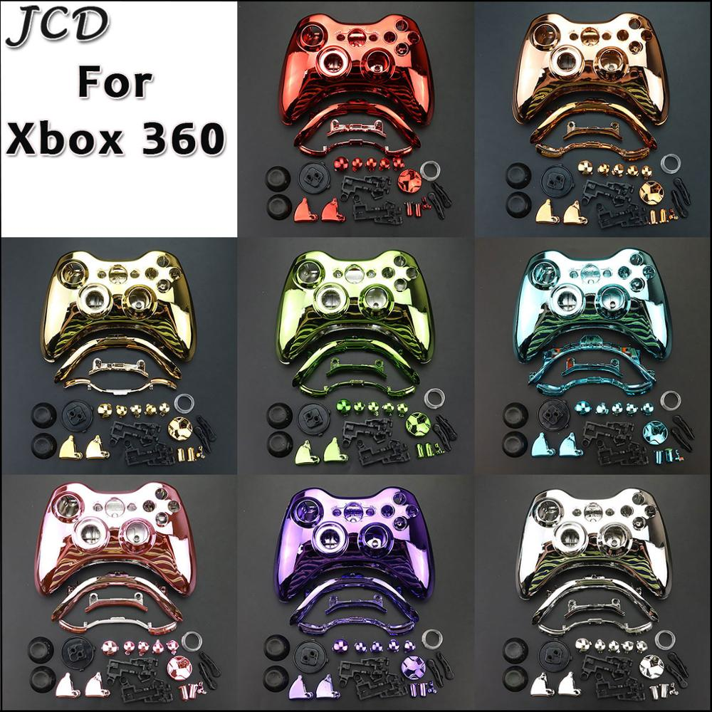 JCD Chrome Controller Shell for Microsoft Xbox 360 Wireless Controller Shell Case Bumper Thumbsticks Buttons Game for Xbox 360