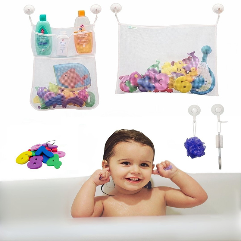Baby Shower Letter Storage Bag Children's Kids Bathroom Toy Ocean Balls Wall Suction Cup Mesh Net Pocket Multi-function Use Show