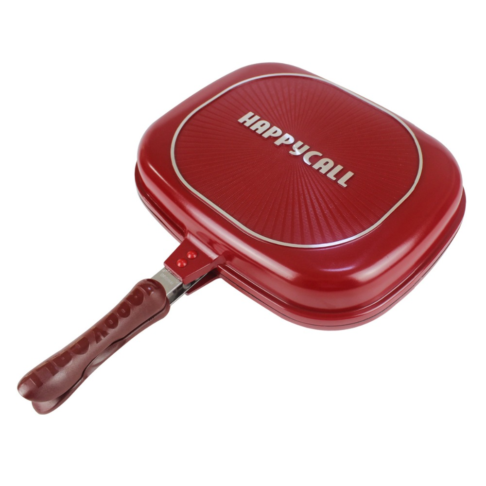 New GH Happycall 28cm/30cm/32cm Fry Pan Non-stick Fryer Pan Double Side Grill Fry Pan Frying Pan  Pans Cooking Pan