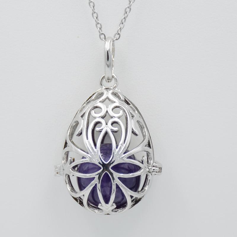 Полый Шарм-клетка в форме яйца, горка-медальон, кулон, ожерелье с натуральным камнем, хрустальный круглый шар из бисера для женщин, самодельн...