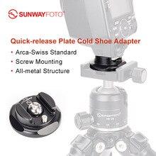 SUNWAYFOTO CB-02 адаптер для холодного башмака, кронштейн для вспышки, аксессуары для штатива, БЫСТРОРАЗЪЕМНАЯ пластина arca-swiss dslr камера, адаптер для горячего башмака