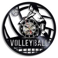 Disco de Vinil do vintage Relógio de Parede Design Moderno de Vôlei 3D Decoração Pendurado Relógio Relógios de Parede de Decoração Para Casa Presentes para a Equipe