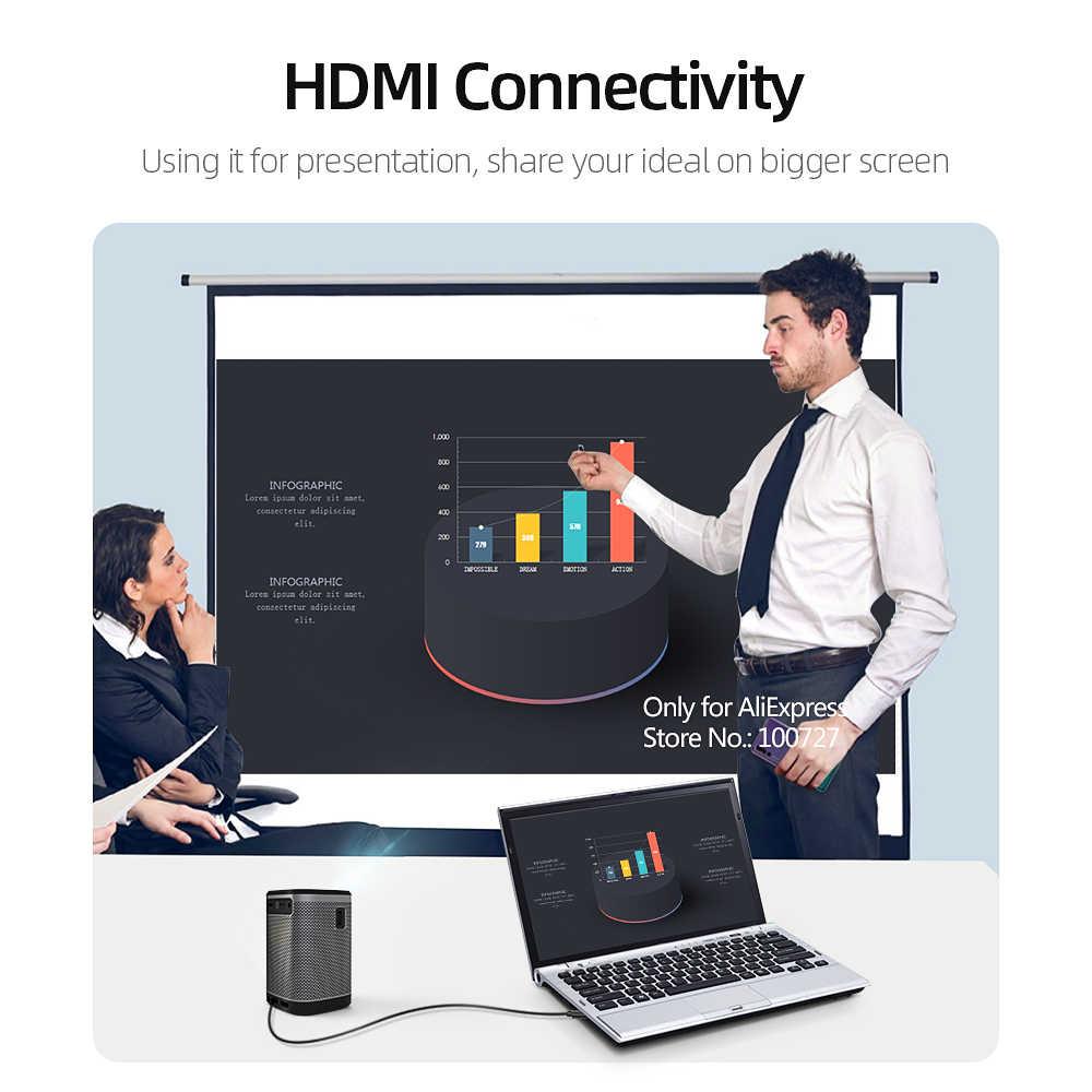 Proyector portátil VIVIBRIGHT L2, batería de 12000mAH Android6.0 (1G + 8G) altavoz HIFI para beamer LED 3D. Soporte 4K de cine en casa