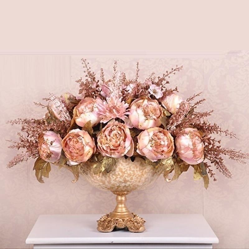 Decoracion cam vazo cerâmica suculenta ouro para jarrones decoração moderno vaso de flor casa teraryum
