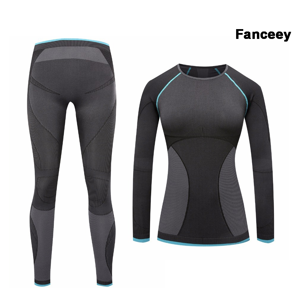 Fanceey Compression Clothing Thermal Underwear Women Quick Dry Anti Microbial Long Johns For Women Second Skin Thermo Underwear