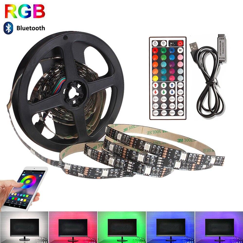 USB RGB LED Strip 5050 DC 5V Flexible Ribbon Fita Led Tape 50CM 1M 2M 3M 4M 5M For TV Background Lighting With Remote Controller(China)