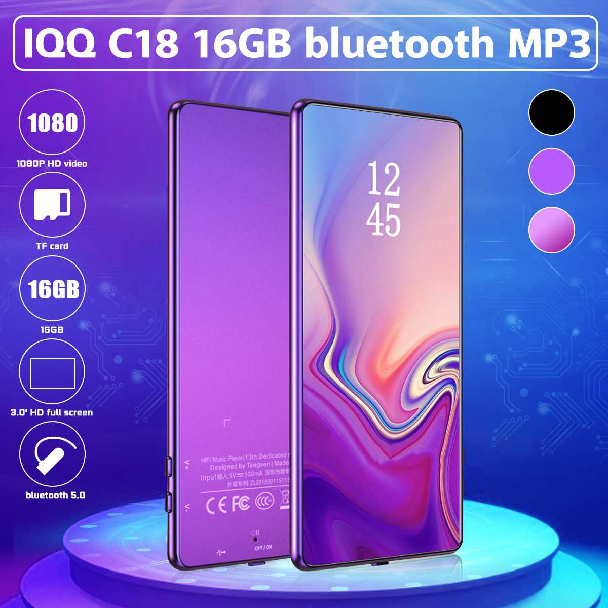IQQ C18 HIFI <font><b>MP3</b></font> <font><b>Player</b></font> 16G 1080P <font><b>HD</b></font> Video Losslessr bluetooth 5.0 <font><b>Player</b></font> FM E-Book Recording Music Walkman image